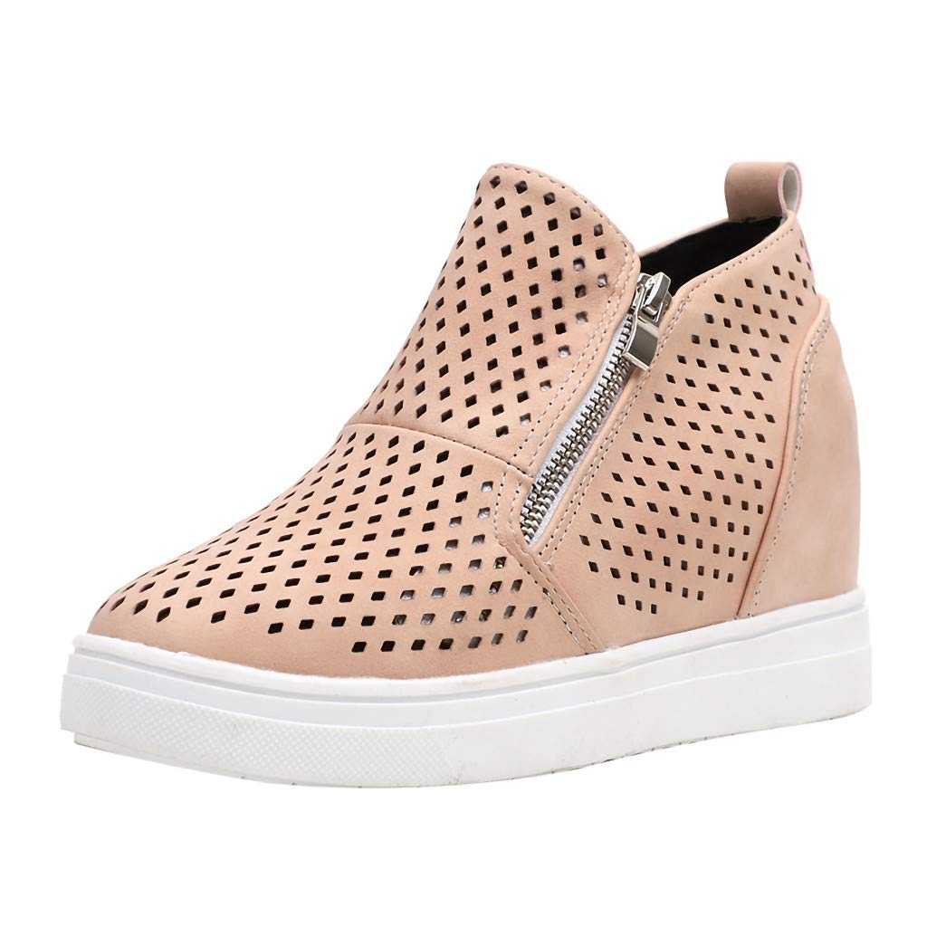 Kauneus Womens Wedge Sneakers Platform High Top Wedge Booties Slip on Heeled Hollow Out Ankle Boots Pink by Kauneus Fashion Shoes