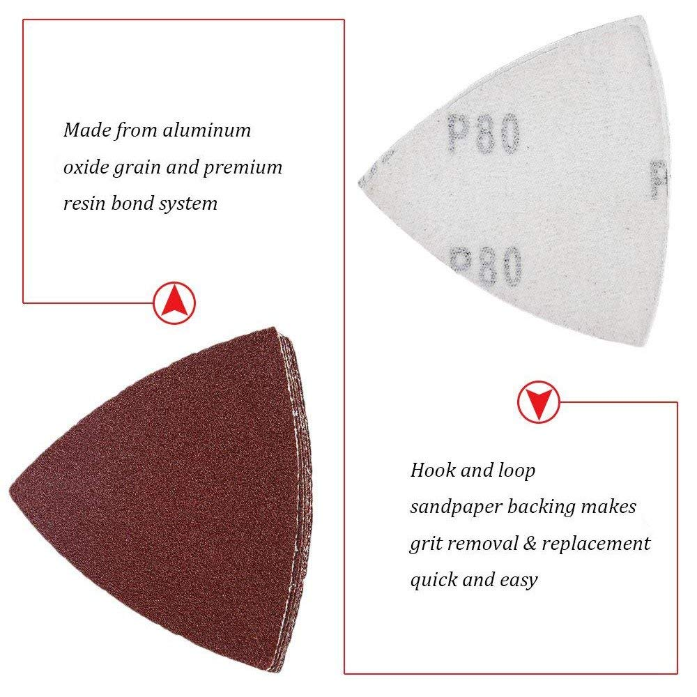 60pcs Triangular Hook and Loop e-Sandpaper Fit 3-1//8 Inch Oscillating Multi T1