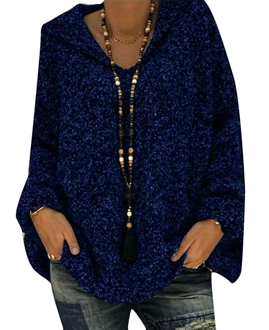 M/&S/&W Womens Casual Comfy Long Sleeve Hooded Pullover Tops Blouse