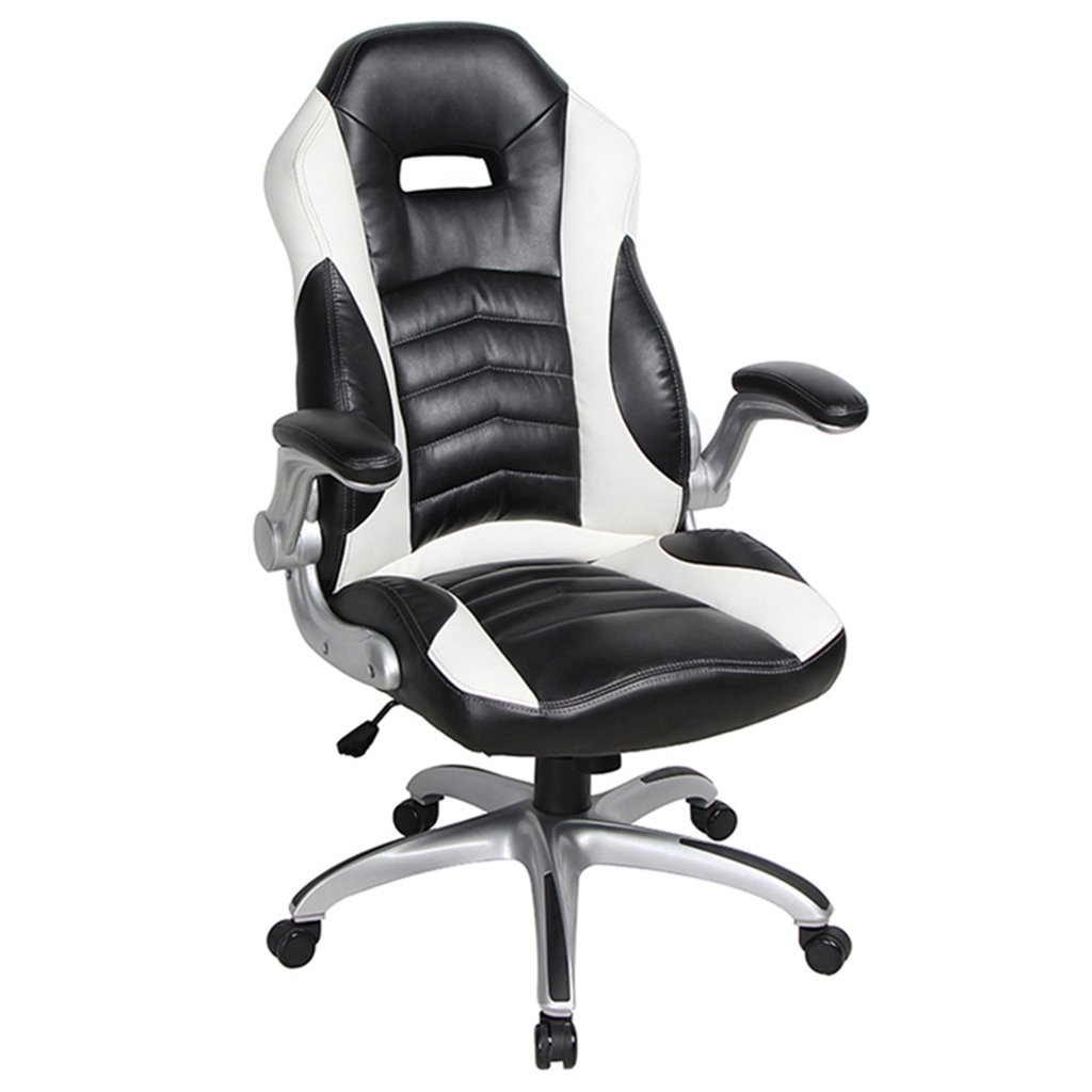Amazon com viva office high back bonded leather executive racing style home office chair with flip up armrestblack and white kitchen dining