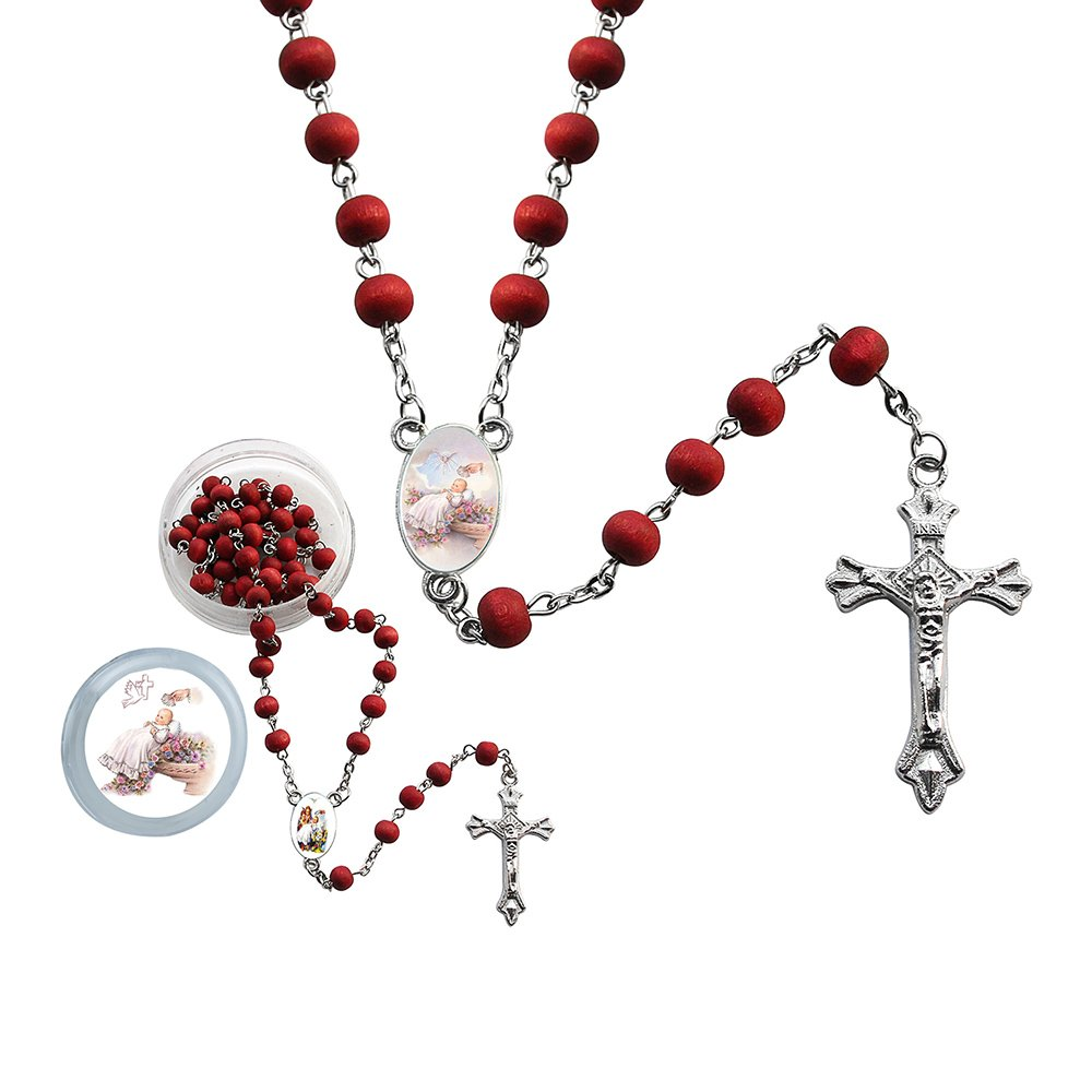 12 Pcs Baptism Red Scented Rosaries with individual Gift Box and Bag - Christening Favor