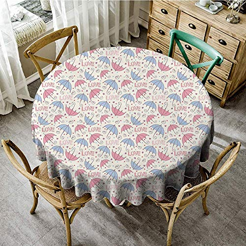 DONEECKL Oil-Proof and Leak-Proof Tablecloth Umbrella Cute Colorful Swirled Valentines Hearts Love Texts Pastel Polka Dotted Pattern Picnic D59 -