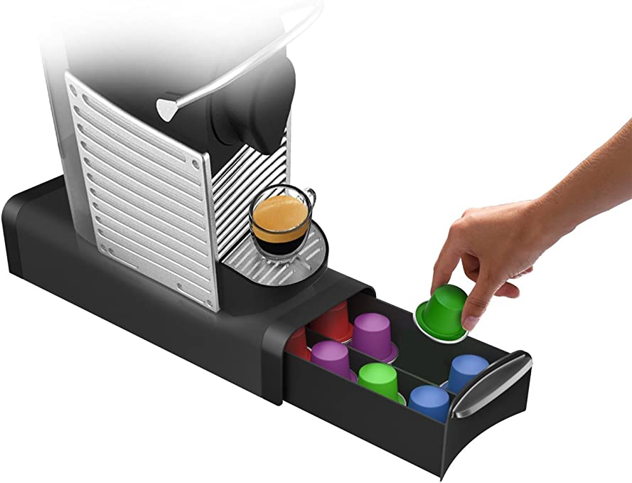 Mind Reader Coffee Pod Storage Drawer for K-Cups, Verismo, Dolce Gusto, Holds 12 K-Cups, 16 Nespresso Capsules, 14 CBTL, Verismo, Dolce Gusto, Black