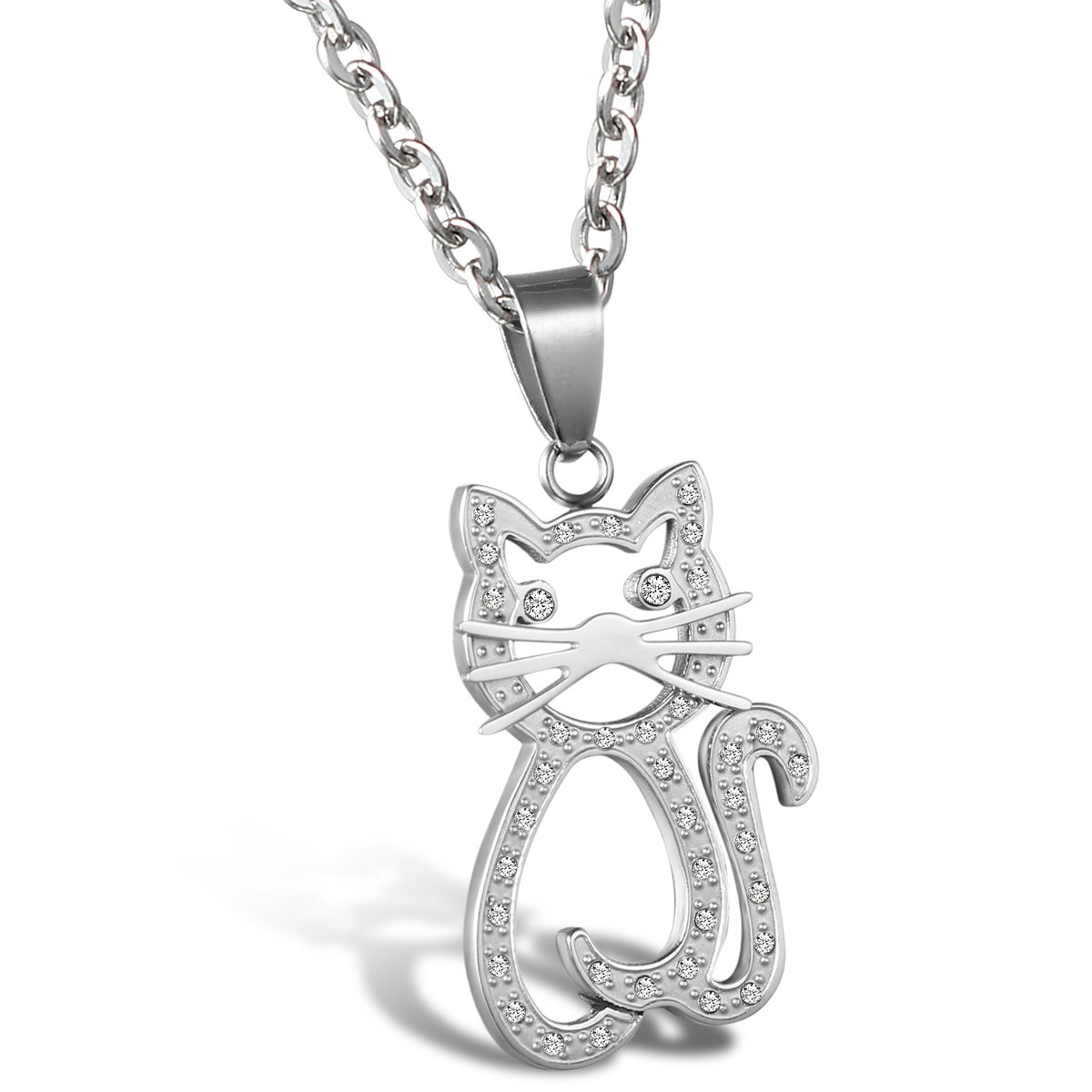 JewelryWe Lovely Girls Cute Cat Kitty Charm Pendant Necklace Stainless Steel 22 Inch Chain Christmas Decoration Ornament Gift JW32PCA1005