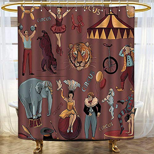 (Mikihome Shower Curtain Customized Circus Print with Tent Tiger Head Balloons Dogs Art with Dark Backdrop Bathroom Set with Hooks W72 x H78 inch)
