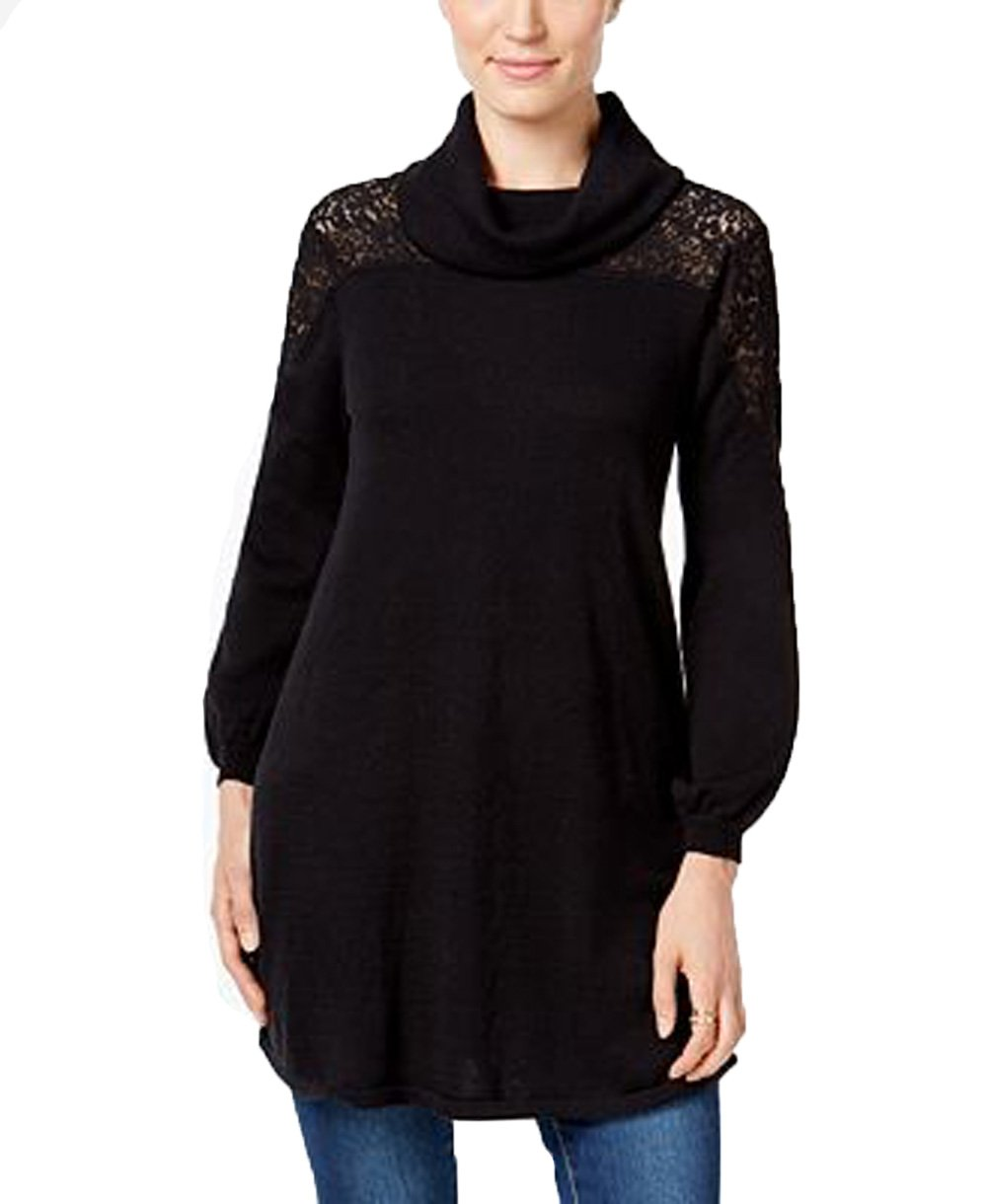Style & Co. Womens Petites Lace Cowl-Neck Pullover Sweater Black PM