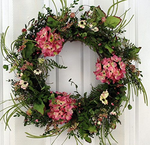 Pink Hydrangea Silk Front Door Wreath 22 Inch -Handcrafted on a Grapevine Wreath Base- Display in Spring, Summer and Late (Seasonal Door)