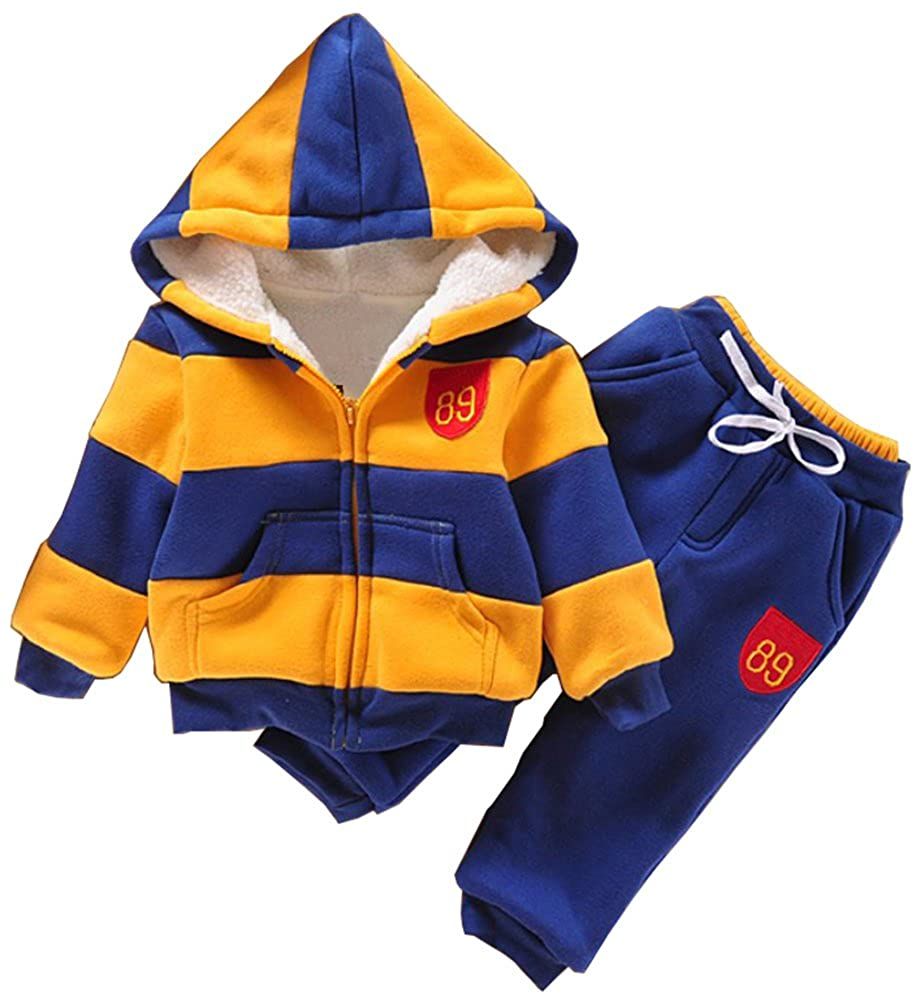 Boy's Hoodies Stripe Coats Snowsuit Sets(Coat*1+Pant*1) 2t-6t SLLSKY