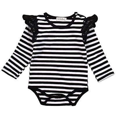Cute Baby Girl Lace Ruffle Long Sleeve Striped Romper Bodysuit Outfit Clothing Fall