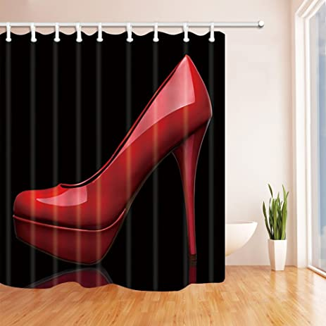 red and black shower curtain set. NYMB Creative Sex Woman Decor  Red High Heels In Black Shower Curtain Mildew Resistant Amazon Com