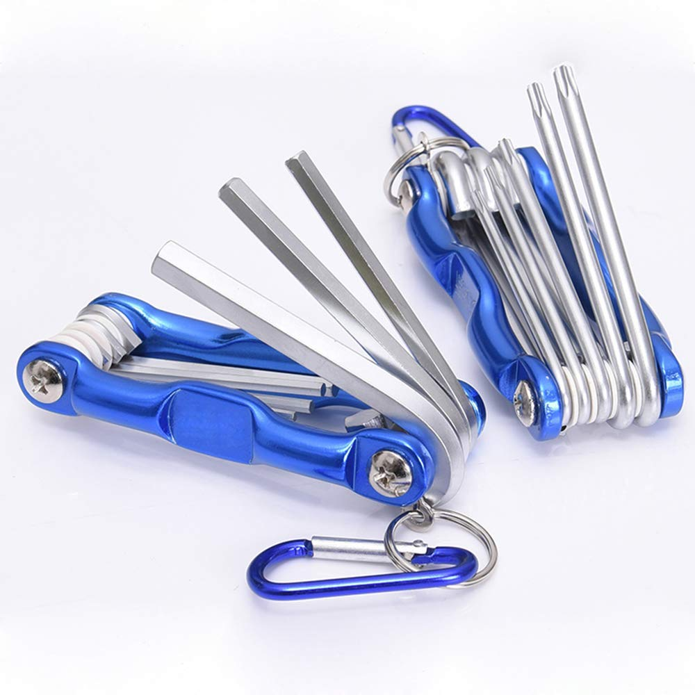 Gasea 2 in 1 Screwdrivers Tool Set, 8pcs Folding Star Key Set (T9 - T40) and 8pcs Folding Hex Key Wrench Set (1.5-8mm)