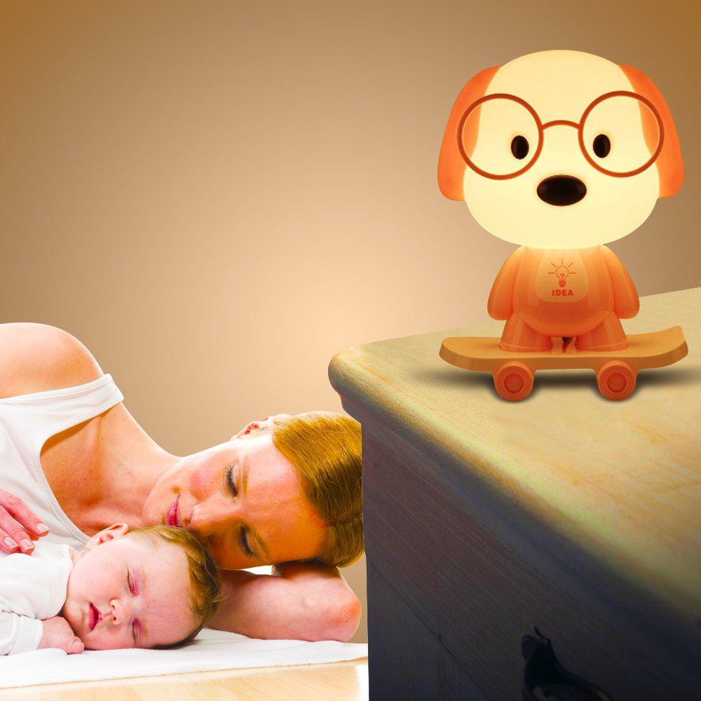 Rest Night Light For Baby Kids Toddler, Cute Cartoon Skateboarding Dog Animals Nightlight Table Desk Lamp, Soft Warm Sleeping Light For Nursery Bedroom Decor by Colors of Rainbow (Image #2)