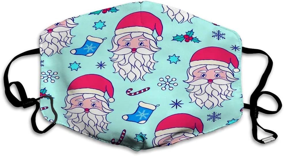 Amazon Com Ethaico Fillter Cloth For Adult And Kids Repetitive Borderless Of Santa Head Candy Cane Snowflakes And Many More Christmas Ornament Reusable Windproof Cloth Half Face Double Protection Home Kitchen
