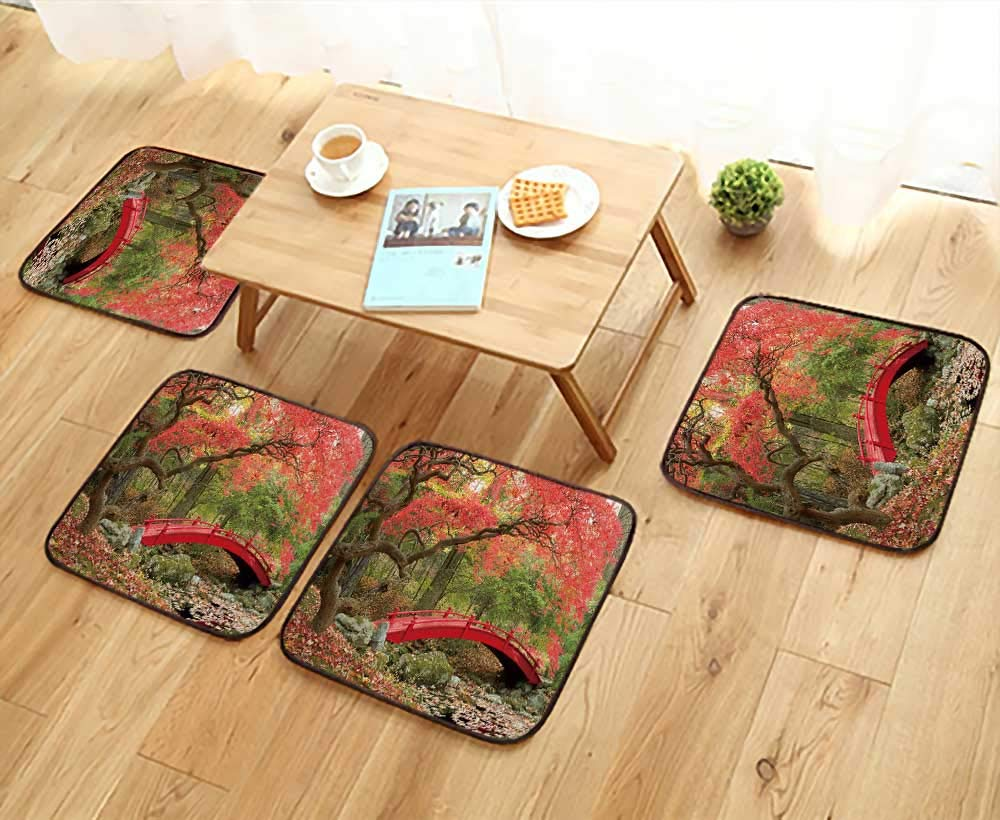 UHOO2018 Chair Cushions Japanese Garden and red Bridge Non Slip Comfortable W25.5 x L25.5/4PCS Set
