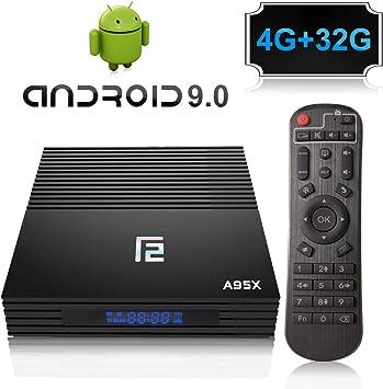 A95X F2 Android 9.0 TV Box Amlogic S905X2 Quad Core Procesador 4GB RAM 32GB ROM con Dual-WiFi 2.4GHz/5.8GHz, Bluetooth 4.0, 4K*2K Ultra HD H.265, HDMI 2.1, USB 3.0 Smart TV Box: Amazon.es: