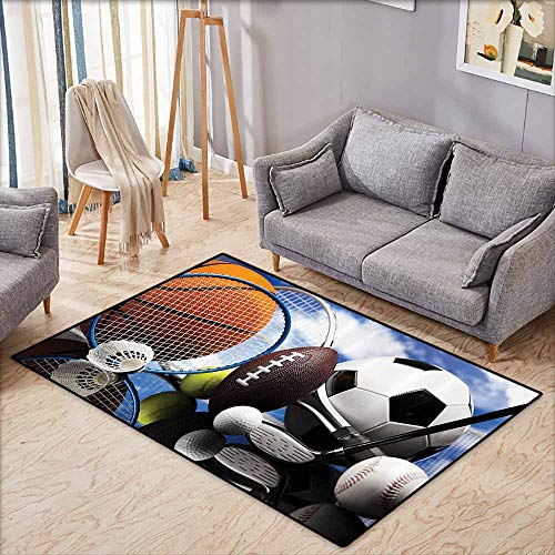 Non-Slip Carpet Sports Decor Collection Sports Equipment Football Soccer Darts Ice Hockey Baseball Basketball Image Print Black Orange Blue Quick and Easy to Clean W5'9 xL4'9