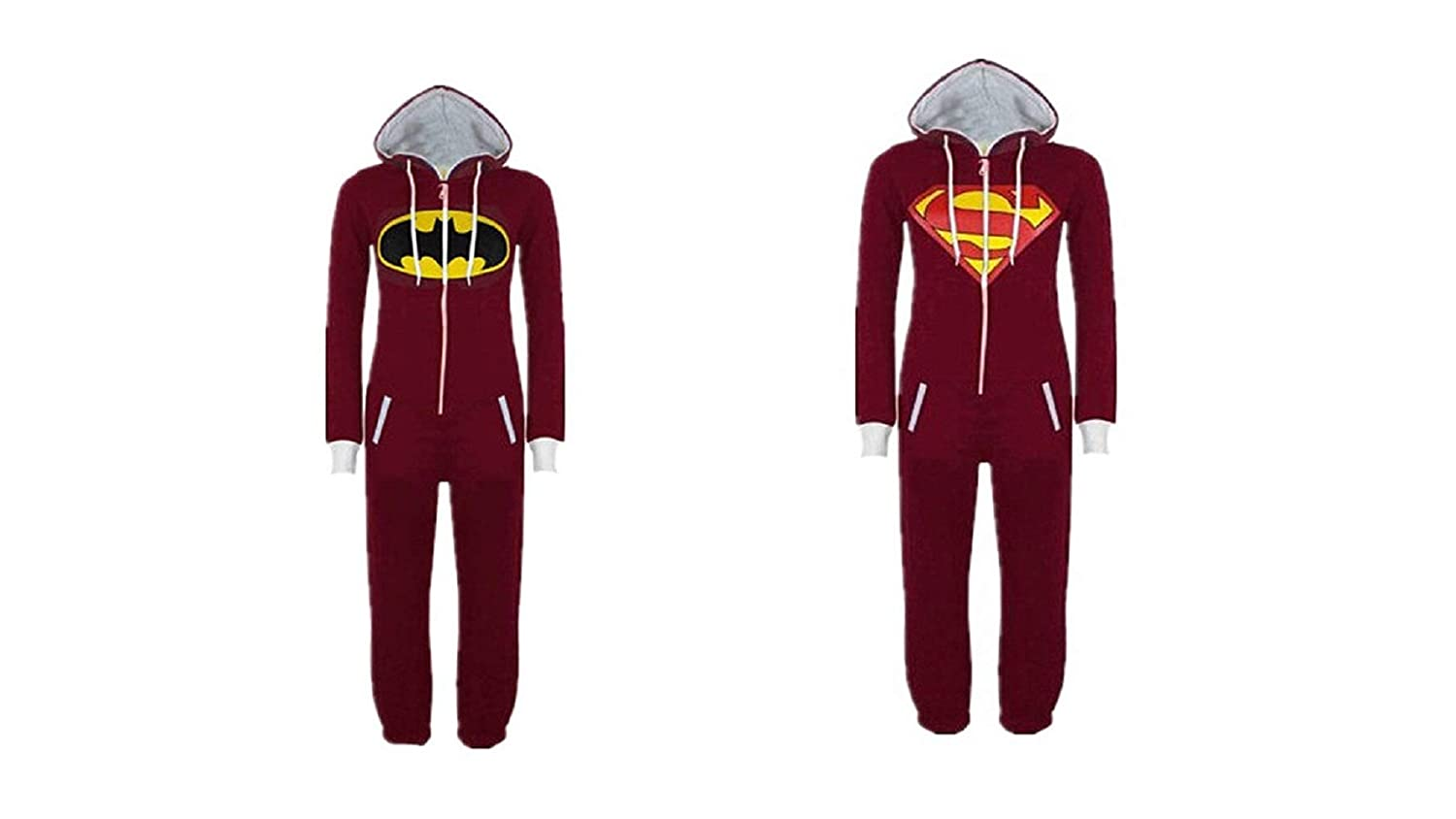 Tresbon Products Unisex Super Hero Red Onesie Loungewear One Piece Sleepwear Batman Superman