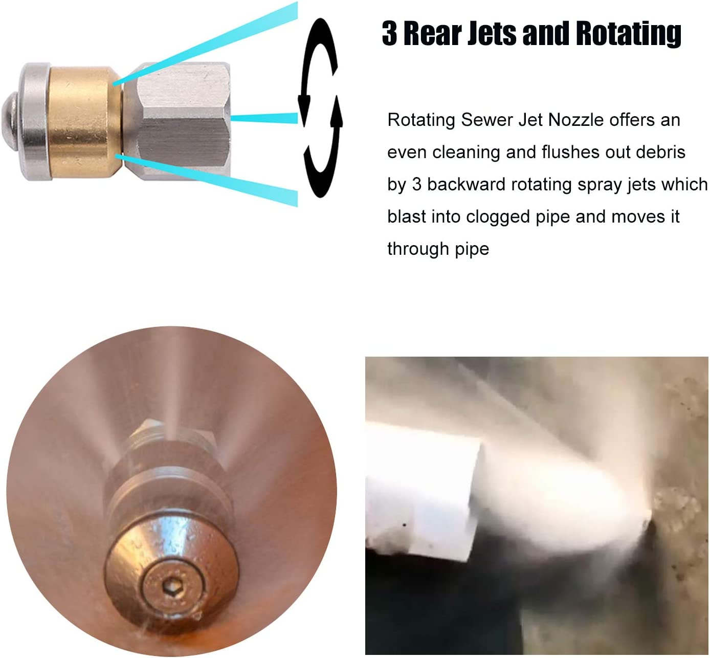 Drain Jetter Hose Nozzle,Rotating,1//4-Inch Female NPT,4000PSI CREEXEON Sewer Jetter Nozzle for Pressure Washer