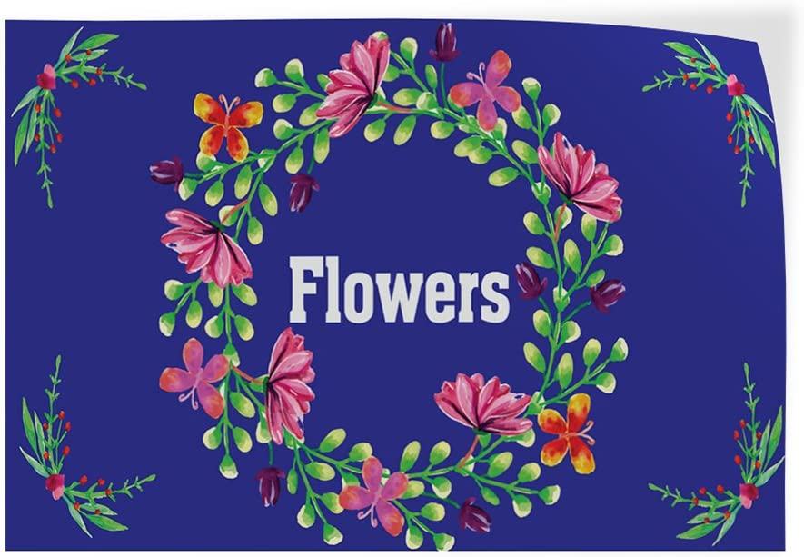 Set of 2 54inx36in Decal Sticker Multiple Sizes Flowers #1 Style E Retail Flowers Outdoor Store Sign Blue