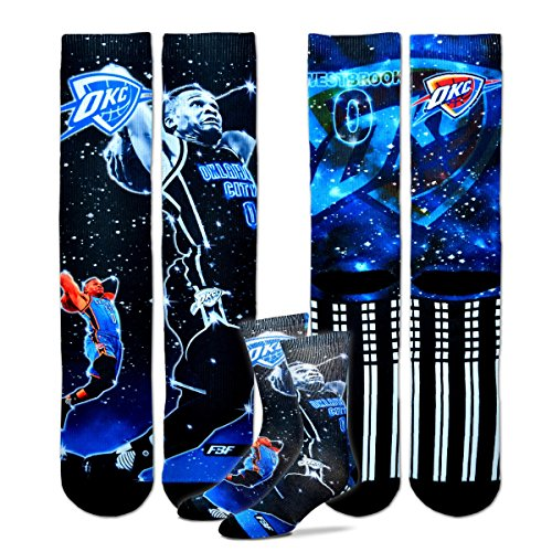 Oklahoma City Thunder Youth Size NBA Constellation Crew Kids Socks (4-8 YRS) 1 Pair - Russell Westbrook by For Bare Feet