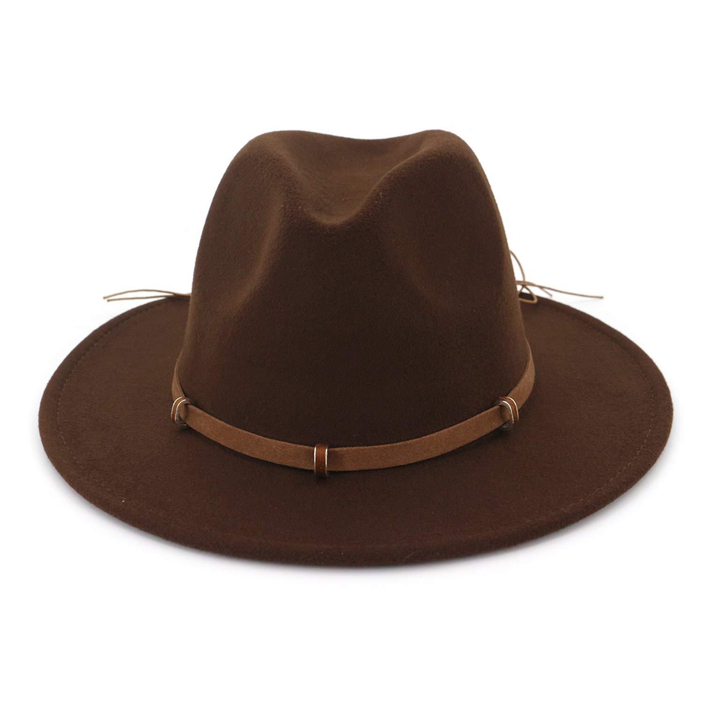 DOSOMI Unisex Wool Felt Fedoras Hats Wide Brim Jazz Trilby Formal Hat Panama Caps with Belt