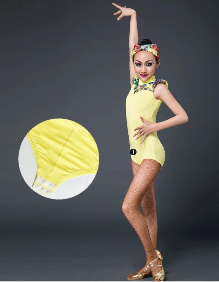 Jaune 1 Costume de Danse Latine pour Enfants Costume de Danse Latine pour Enfants Costumes de compétition Latine 120cm
