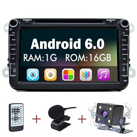 Junsun 8 Pulgadas Reproductor de DVD 1080P HD Navegador GPS para Coche con Bluetooth FM Micrófono