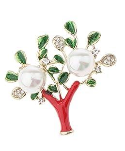 non-brand MagiDeal Baumblüte Form Mehrfarbig Kristall Strass Brosche Pin für Damen Schal - Anzug Accessoires - Bunt xd7971