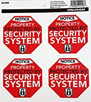 Hillman 843466 Notice Property Protected by Security System Decals, Black, Red and White Plastic, 4-Decals