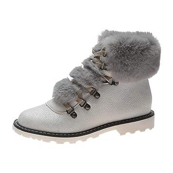 Logobeing Botas Mujer Invierno Botas de Mujer Casual Antideslizantes Zapatos Mujer Zapatos Planos Botas de Nieve con Cordones de Piel Plataforma ...