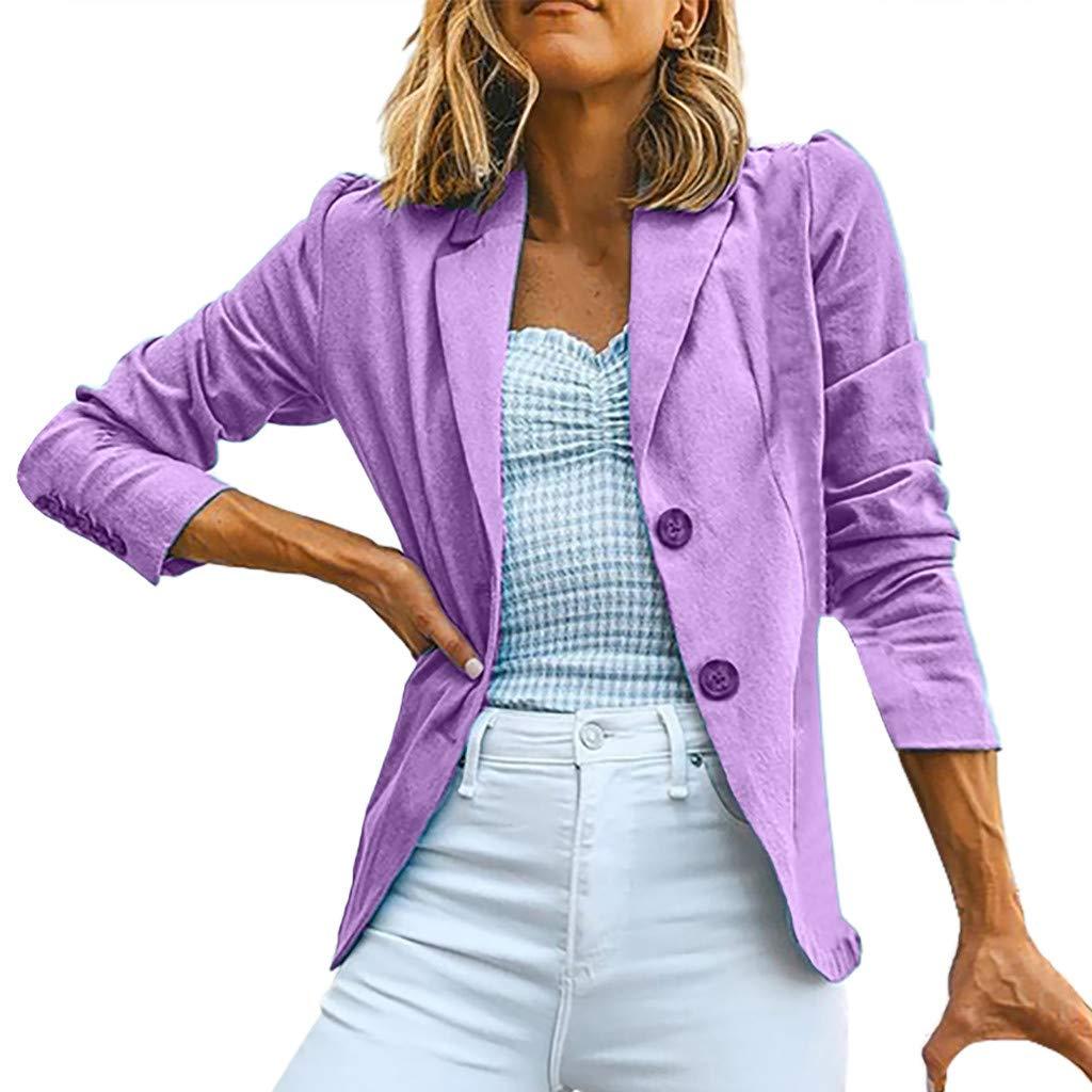 Redacel Women's Casual One Button Blazer Jacket Slim Fit Work Office Blazer Top (XL,Purple)