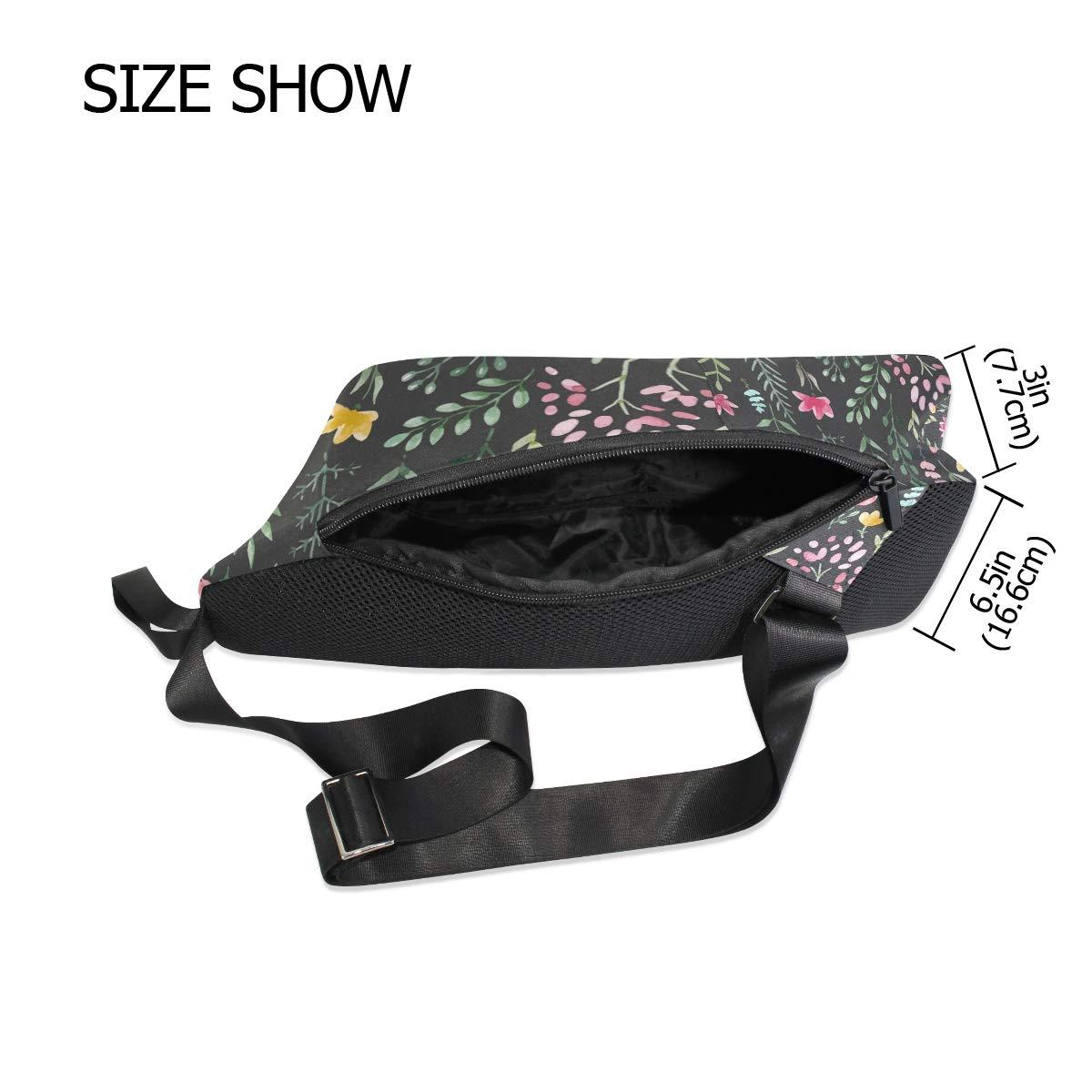 Unisex Messenger Bag Floral Pattern Shoulder Chest Cross Body Backpack Bag