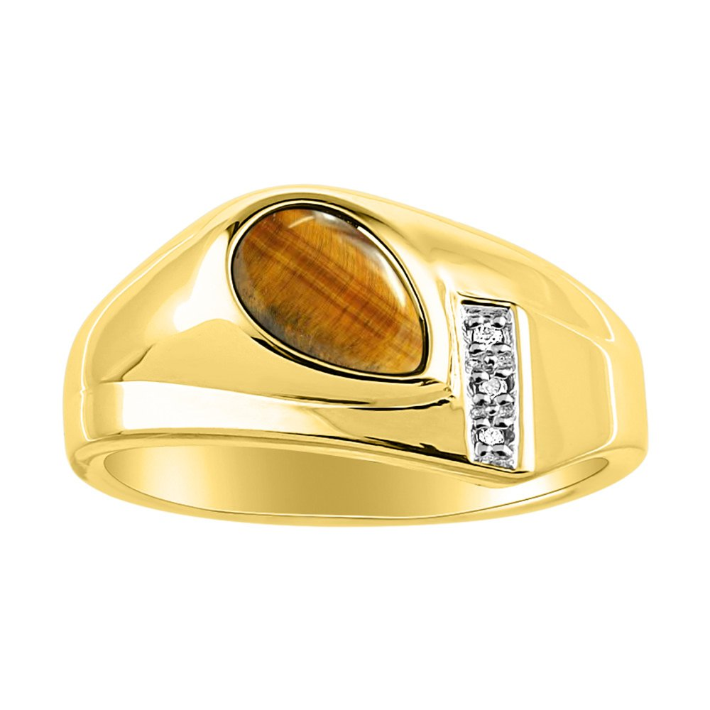 Timeless Pear Shape Tiger Eye & Natural Diamond Ring Yellow Gold Plating over Silver .925