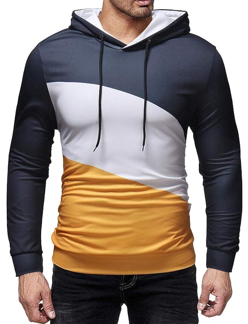 Mstyle Mens Color Block Drawstring Casual Sport Running Trainning Pullover Hoodie Sweatshirt