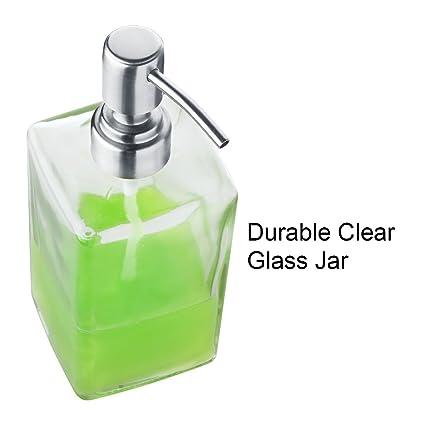 Dispensador de Jabón Limpio de Vidrio y Acero Inoxidable Rellenado de Botellas de Transparente Rectangular de Lavavajillas de Jabón Líquido para ...