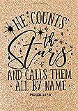 He Counts The Stars (Psalm 147:4 NLT): Christian Notebook or Journal: Gold Glitter Notebook with Scripture: Inspirational Gift for Women & Girls (Bible Verse Christian Notebooks) (Volume 4)