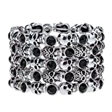 Szxc Jewelry Women's Crystal Skull Heavy Stretch Bracelets