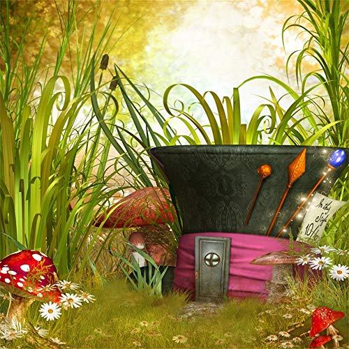 OFILA Fairy Garden Backdrop 10x10ft Enchanted Mushroom Photography Background Girls Tea Party Decoration Princess Birthday Portraits School Events Flowers Wonderland Baby Shower Shoots Video Props ()