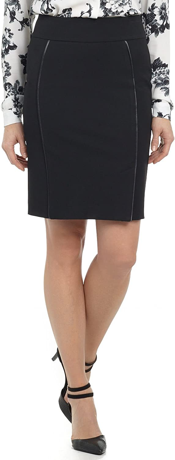 Rekucci Collection Women's Ease in to Comfort Pull-on Pencil Skirt with Piping
