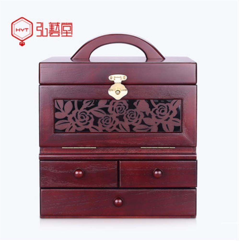 LUCKYYAN Hand Crafted Fine Hollow Carved Wooden Makeup Case Portable Large Multi-layer Cosmetic Box With HD Three Mirror Storage Box , red wine