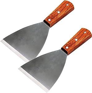 RJWKAZ 2Pcs Premium Grill Scraper Stainless Steel Slant Griddle Spatula Diner Flat Straight Blade