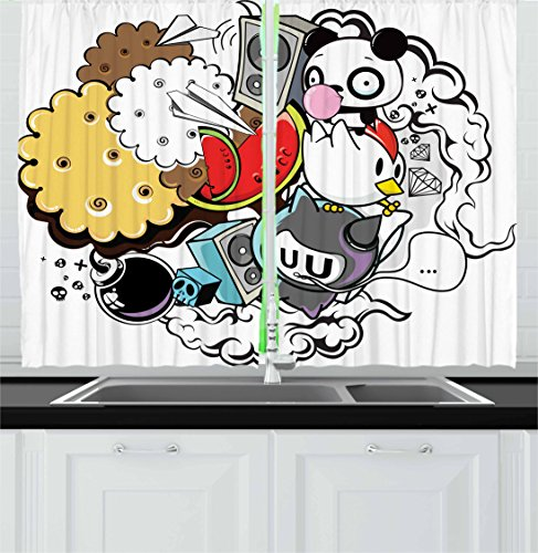 Ambesonne Indie Kitchen Curtains, Animal and Food Themed Com