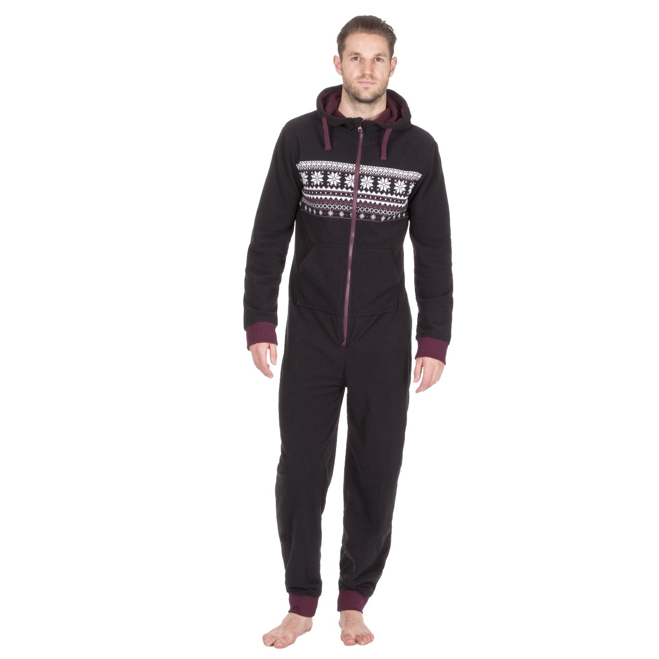ONEZEE Mens Fairisle Printed Hooded Microfleece Winter Jumpsuit with Pockets