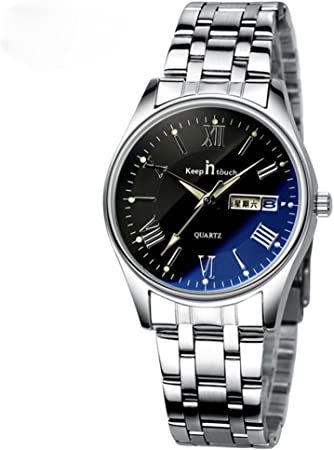 Reloj de cuarzo de negocios con banda de acero Dial azul grande Reloj de pulsera de relojes romanos a prueba de agua para amantes de las parejas(Women Black)