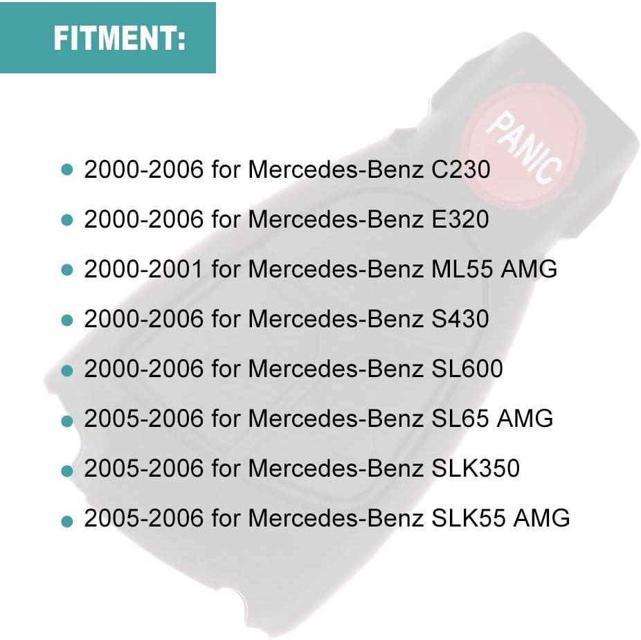 SELEAD Keyless Entry Remote Control SHELL CASE Car Key Fob Clicker Transmitter Black 4 Buttons fit for Mercedes-Benz E320 E350 SLK55 CLK55 CL500 S350 CLK350 2005-2006 IYZ-3312-2 1pc US Stock