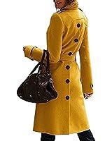 SaiDeng Donna Slim Fit Giacca Trench Coat Monopetto Lungo Colori Solidi