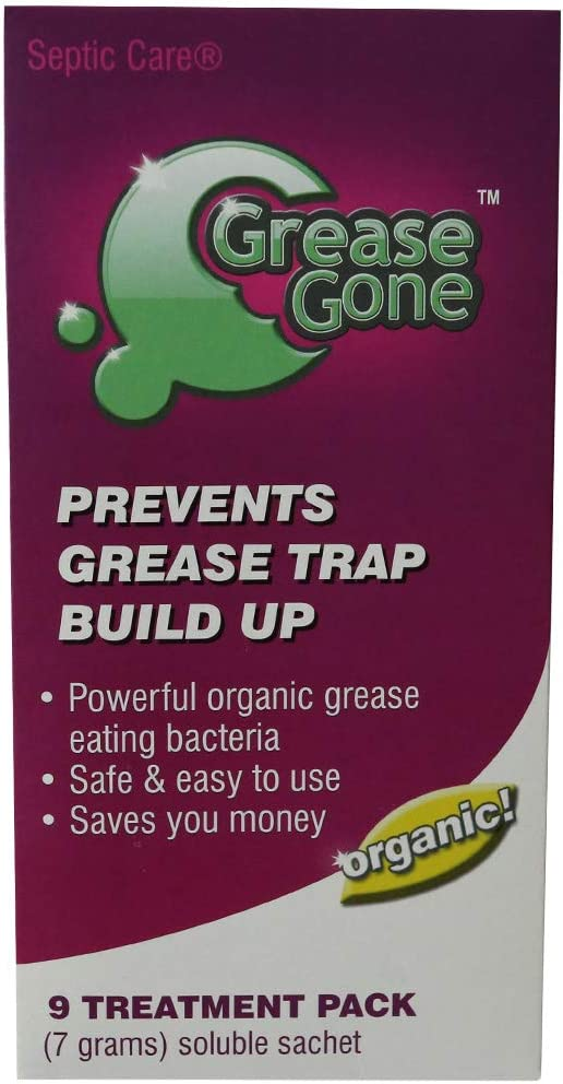 Grease Gone Grease Trap Cleaner Treatment 9 Pack, Turns Fat, Oil and Grease to Water, Reduces Odors and Pump-Outs (9 Soluble Sachets)