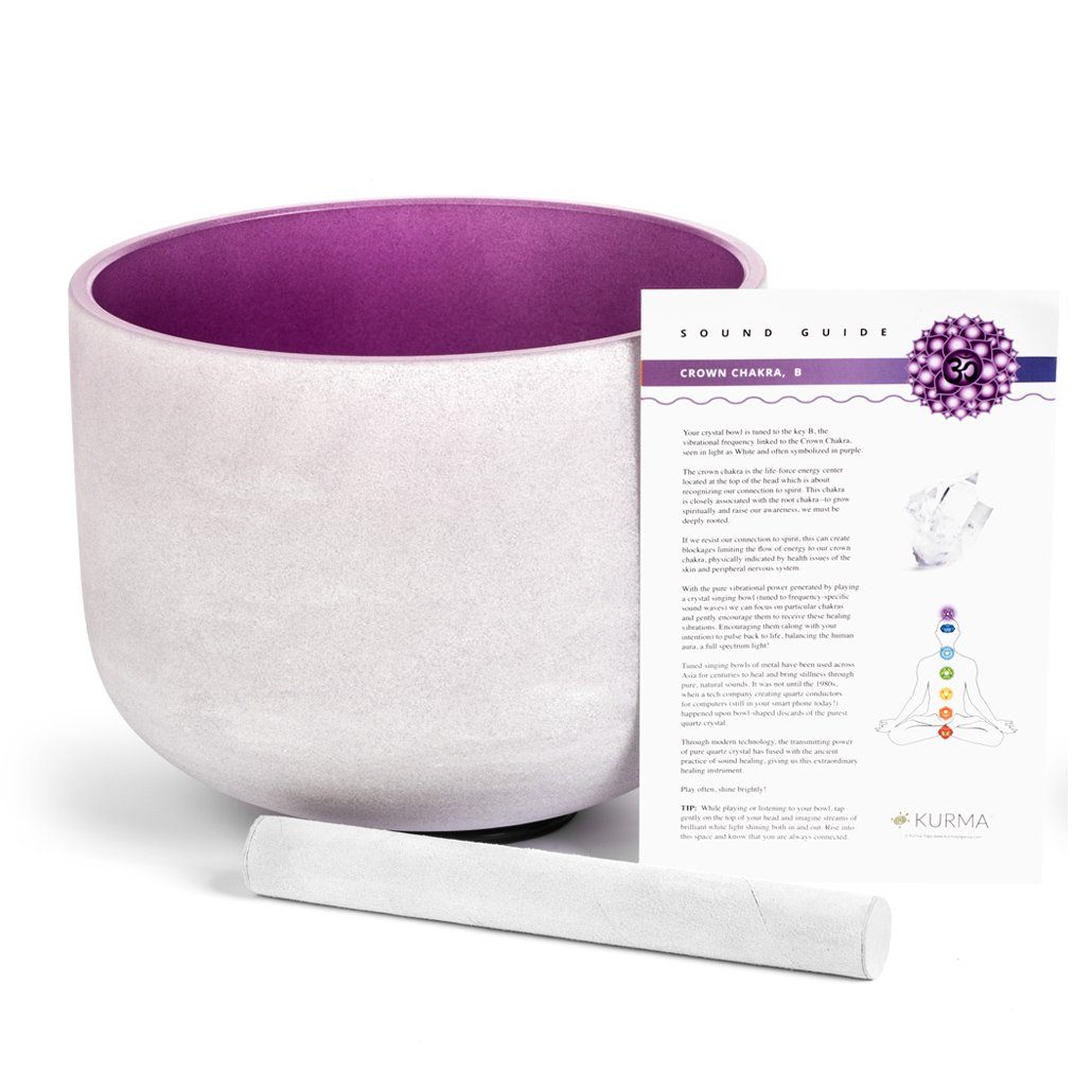 Purple Crystal Singing Bowl B Note Crown Chakra 10 Inch, Suede Mallet Included, Sound