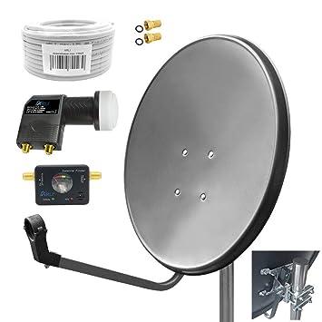 Satélite (Antena Parabólica 80 cm Satfinder gris digital Twin ...