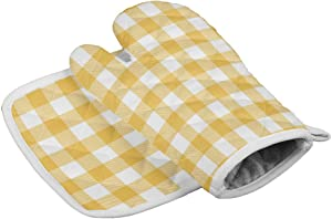 Oven Mitt and Pot Holder Set Yellow Buffalo Check Plaid Oven Gloves Heat Resistance Non-Slip Surface for Kitchen BBQ Cooking Baking Grilling, Farmhouse Style 12x12+8x8